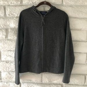 Charter Club 2-Ply Cashmere Zip Front Hoodie sz S